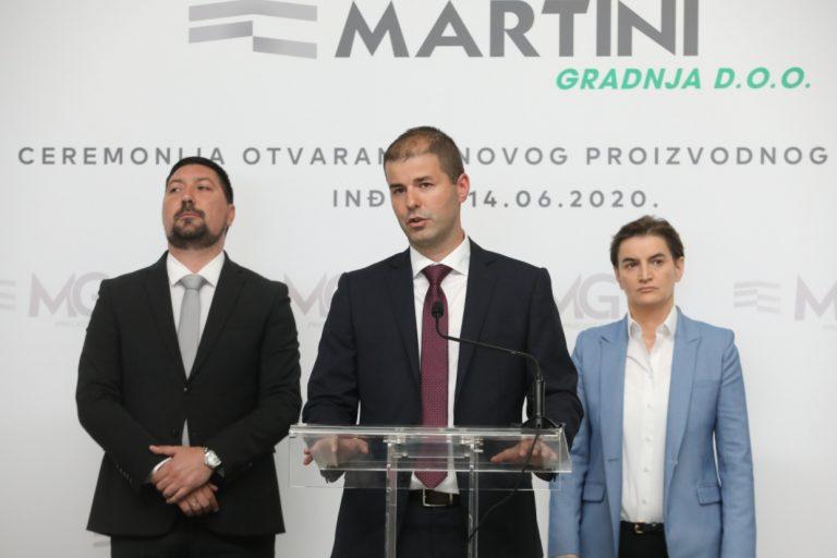 โถงการผลิตใหม่ของ Martini gradnja ใน Indjija